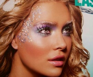 glitter, makeup, and mermaid image