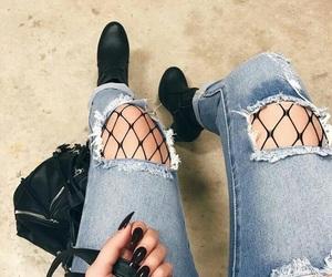 fashion, nails, and black image