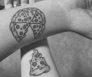 pizza, tattoo, and couple image