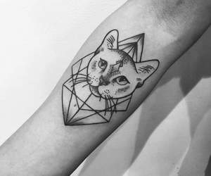 black and white, cat, and tattoo image