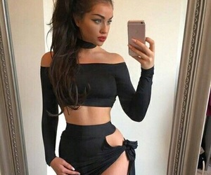 beauty, girl, and crop top image