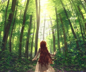 anime, girl, and forest image