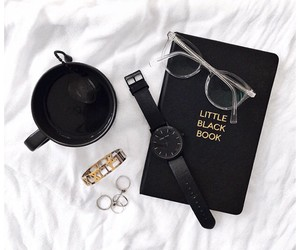 glasses, black, and book image