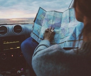 travel, car, and map image