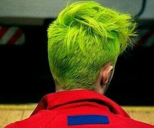 green, green hair, and hair image