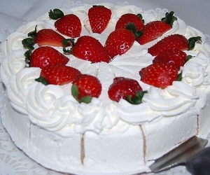 strawberry, cake, and pale image