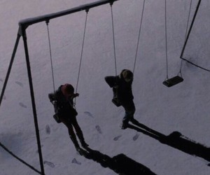 snow, swing, and grunge image