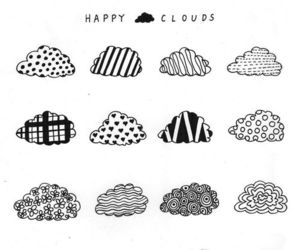 clouds, black and white, and drawing image