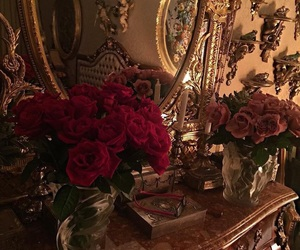 rose, flowers, and gold image