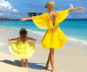 yellow, summer, and beach image