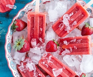 strawberry, ice, and summer image
