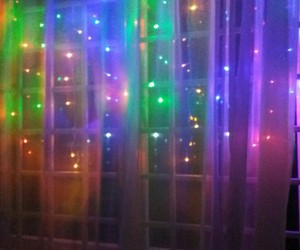 curtain, lights, and fairy lights image