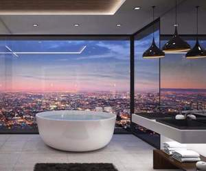 luxury, bathroom, and city image