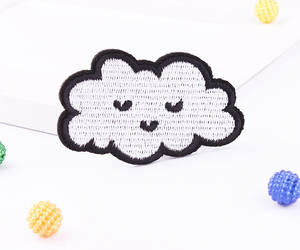 cute cloud, embroidered, and etsy image