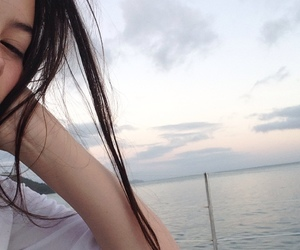 girl, pale, and sea image