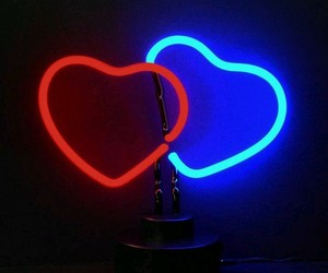 hearts, neon, and blue image