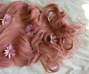 bed, hair, and flowers image