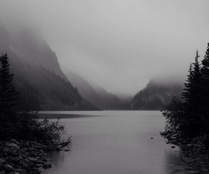 black and white, nature, and lake image