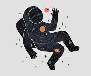 art, astronaut, and planets image