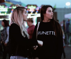blonde, brunette, and candid image