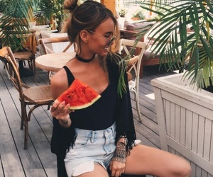 fashion, watermelon, and girl image