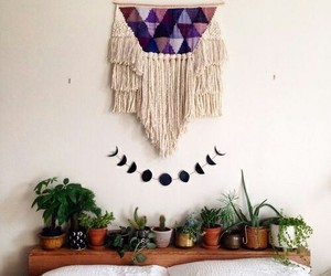 bedroom, plants, and decor image