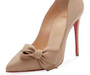 beige, christian louboutin, and high-heel image