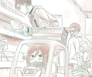 levi, anime, and mikasa ackerman image