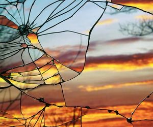 sunset, mirror, and broken image