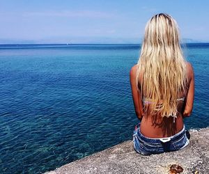 back, the sea, and blonde image