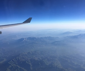 mountains, plane, and travel image
