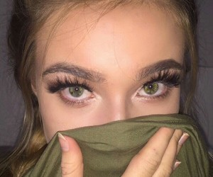 eyes, girl, and green image