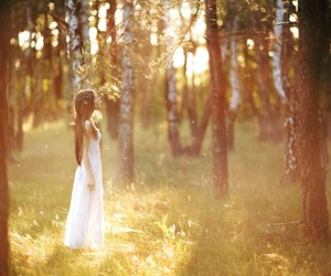 girl, flowers, and forest image