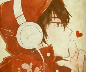 anime, boy, and red image