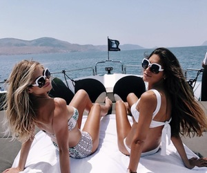 boat, friend, and girl image