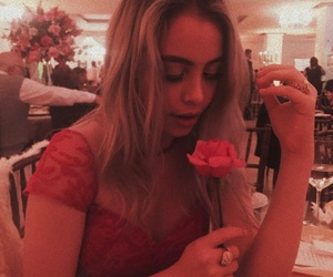 blonde, blonde girl, and flowers image