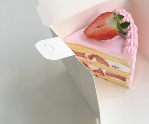 pink, cake, and strawberry image