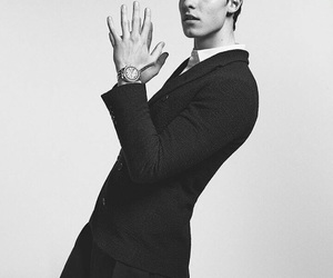 shawn mendes, Armani, and black and white image