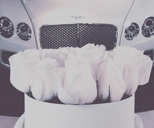 roses, car, and Bentley image