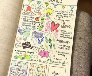 goals, book, and journal image