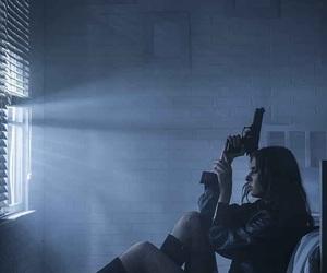 girl, gun, and dark image