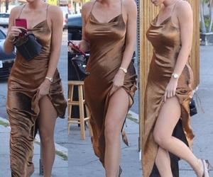 beauty, fashion, and gold dress image