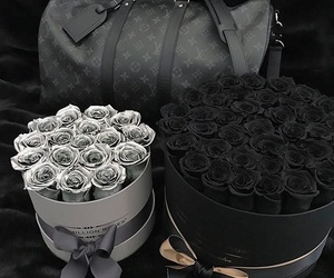flowers, black, and roses image