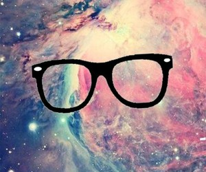 hipster, galaxy, and glasses image