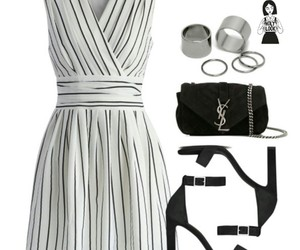 black&white, dress, and outfit image