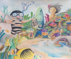 art, color pencil, and coral reef image