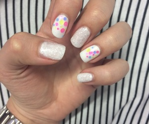 colorful, dots, and white image