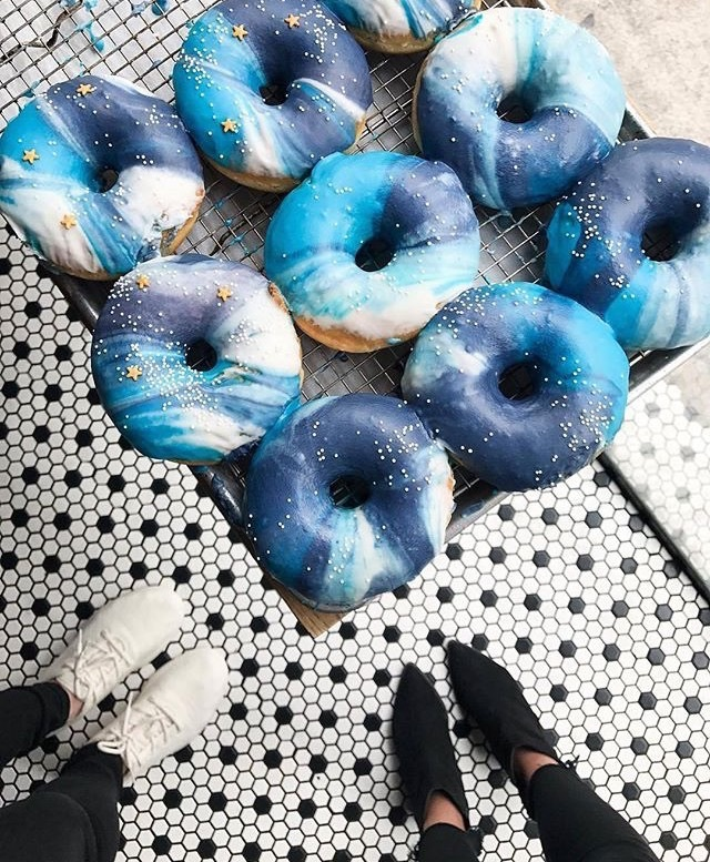 food, blue, and donuts image