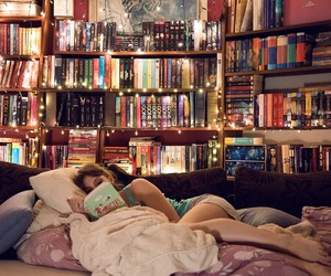 books, bookshelves, and relaxation image