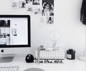 room, black and white, and design image